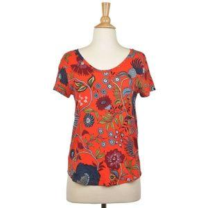 Ann Taylor LOFT Red Flower Short Sleeve T-Shirt